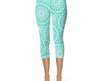 Beach Boho Leggings, Aqua Leggings, Turquoise Leggings, Blue and White Capris Yoga Pants
