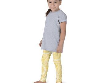 Leggings Girls Mustard Yellow Yoga Pants for Kids, Yellow and White Children's Activewear