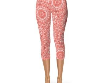 Red Capris, Vermillion Yoga Leggings, Red Leggings Cropped Yoga Pants, Yoga Tights