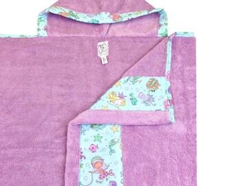 Mermaids Hooded Towel Lavender Aqua Pink Silver Metallic