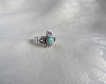 Vintage Sterling Silver Bell Trading Post Native American Inspired Thunderbird Ring With Center Turquoise Stone Size 5 3/4