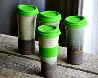Travel mug in green handmade pottery coffee on the go cup with silicon BPA free lid 16 onces