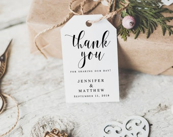Wedding favor tags Wedding thank you tags printable Thank you tag template Gift tags Favor tags template Rustic wedding tags DIY #vm31