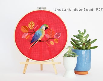Blue Parrot - Modern Counted Cross Stitch Pattern - Instant Download PDF