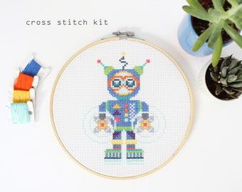 Aqua Bot - Modern Beginner DIY cross stitch kit - Robot cross stitch pattern - Kids cross stitch kit