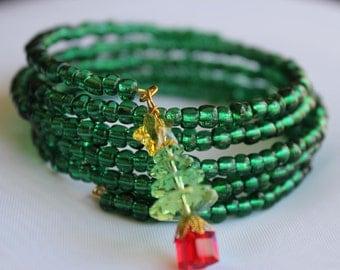 Christmas Bracelet,  Memory Wire, Swarovski Crystals