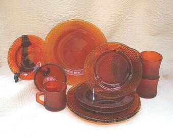 Amberina Glass Plates Cups Hobnail
