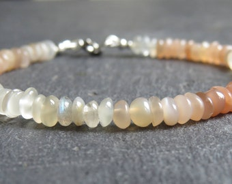 Moonstone Button Bead Bracelet