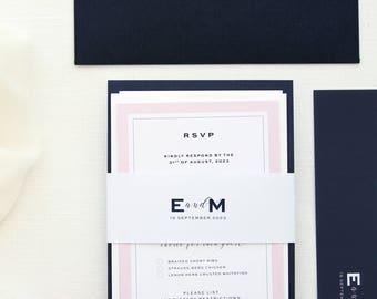 Elizabeth 2 Elegant Navy and Blush Wedding Invitation Sets, Modern Invitation Kit, Chic Wedding Stationery, Navy Envelopes, Paradise