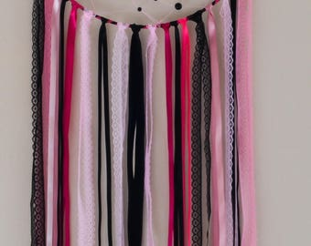 DreamCatcher dream catcher, dreamcatcher, woven with pearls, black and pink, teen room decor