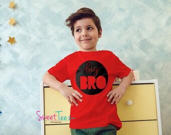 Big Brother Shirt Big Bro Shirt Red Boy Tshirt Kids Toddler Top Shirt
