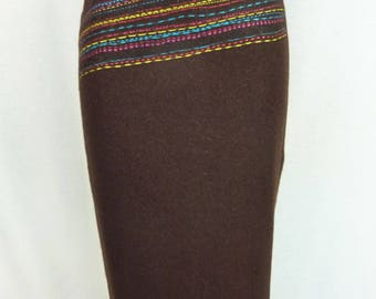 Vintage skirt Brown - Christian Lacroix - wool skirt - skirt Christian Lacroix vintage - Brown wool skirt - chocolate brown skirt