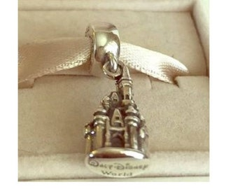 Disney CINDERELLA CASTLE CHARM / New / Sterling Silver s925 / Threaded / Fully Stamped