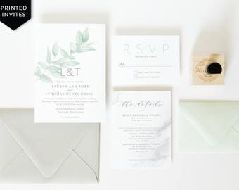 Eucalyptus Wedding Invitation - Watercolor Branch Invitation - Gray Marble Suite - Wedding Stationery Package - Botanical Blue Green