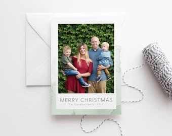 Photo Christmas Card - Minimalist Modern Holiday Photo Card - Family Christmas Cards - High Quality Printed Cards - Pale Green Watercolor