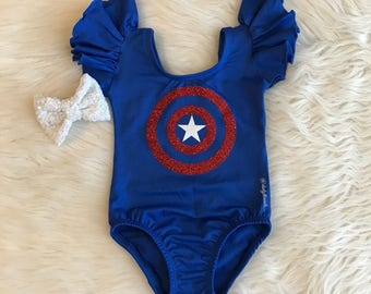 CAPTAIN AMERICA Leotard - baby / kids glitter design -  Flutter / short / long sleeve / tank / sleeveless / superhero / hero