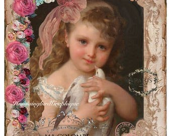 GIRL WITH DOVE Victorian Shabby Chic Large Image Printable Digital Download Transfer Pillow Tote Fabric Transfer Decoupage