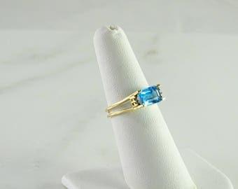 Blue Topaz Accent Diamonds 14K Ring Size 6.5