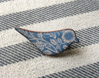 Blue Heritage Bird Brooch, William Morris Brooch, Floral Bird Brooch, Bird Jewellery, Handmade Gift, Stocking Filler, Secret Santa Gift.