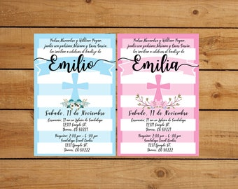 baptism invitation for boy or girl in pink or blue in spanish or english
