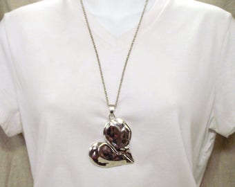 """Large Silver-tone Heart Pendant or Necklace - Necklace in 24"""" Chain or 32"""" Light Pink, Pink, Red, or Black Leather"""