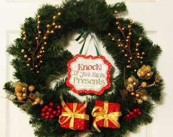 "Clearance | Christmas Wreath | Winter Wreath | Presents | ""Knock if you Have Presents"" 