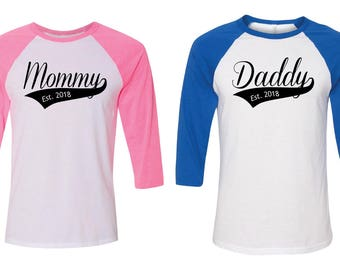 Gender Reveal. Mommy Daddy Shirts. Custom Mommy Daddy Baseball Shirts. Gender Reveal Party Ideas. Mom and Dad Shirt. Team Boy Team Girl.