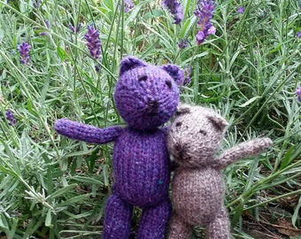 Blueberry Bear - a handmade cuddly purple teddy knitted and stuffed with pure British wool