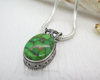 Green Copper Turquoise Sterling Silver Pendant and Chain