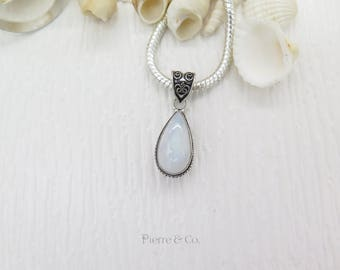 Tear Drop Rainbow Moonstone Sterling Silver Pendant and Chain