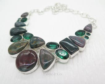 Blood Stone and Emerald Quartz Sterling Silver Necklace