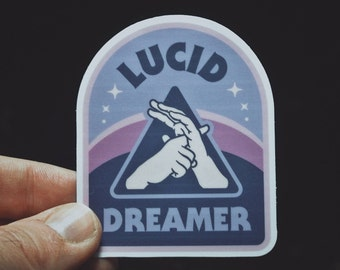"Lucid Dreamer Sticker - 3"" Durable Vinyl Sticker - Weather Resistant - Dreamy Blue Hazy Pink for Consciousness Explorers & Astral Travelers"