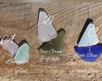 Genuine Sea Glass Sailboat Ornament, Sailboat Decor, Beach Christmas Tree, Sea Glass Art, Lavender Sea Glass, Cobalt Sea Glass, Sea Pottery