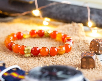 8mm - Orange agate stone beaded stretchy bracelet with gold skull, orange bead bracelet, mens bracelet, orange bracelet, orange bead