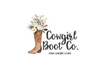 Watercolor logo design - Cowboy boots Premade logo - Bohemian watercolor logo - Boho logo design - Branding for shops - Business logo