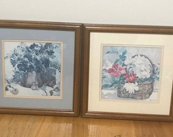 Janet Walsh Lithograph Framed Art Work Vintage 2 Pictures Set with the signature of the Author Vintage Art Print Wall Decor