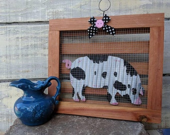 Pig Wall Decor/Rustic Metal Pig/Farmhouse Decor/Pig Country Kitchen/Pig Sign/Farm Animal Wall Art/Barn Decor/Pig Lover Gift/Baby Nursery