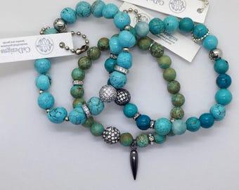 Turquoise Beads Stretch Bracelet, Swarovski Pave CZ crystals, Spike Charm, Valentines Day Gift Gunmetal Pave Healing Jewelry Layering Boho