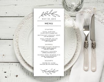 Wedding Menu Printable, Menu Editale Template | Menu Printable, Reception Printable, Rustic SILVER Leaves, Menu 4x9"