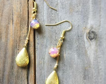 Vintage Opal Locket Earrings