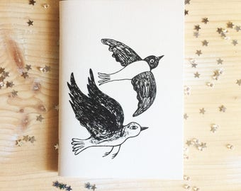 Notes, drawings, thoughts, birds, A6 notebook