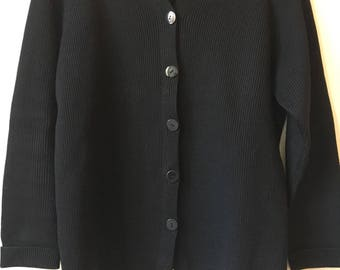 Vintage Black Wool Cardigan Sweater