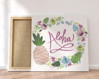 Aloha Art  Tropical Pineapple Art Canvas Art, Floral Wall Art, Ocean Home  Decor