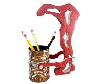 Pen Holder-Hand Made from pine wood-Abstract and Rustic look-Good addition for your Desk,Office and Home decor,Or as very Unique Gift idea
