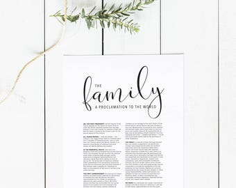 The Family: A Proclamation to the World Digital Download   Family Proclamation Large Printable   LDS Family Proclamation Print