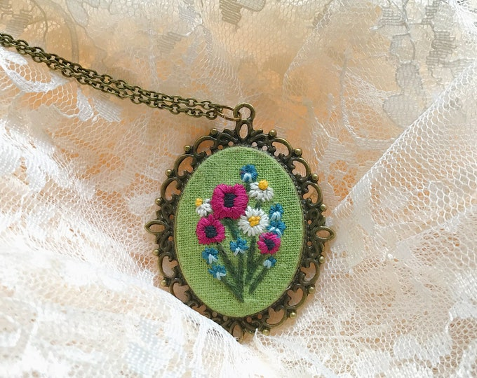Poppy and Daisy Wildflower Pendant