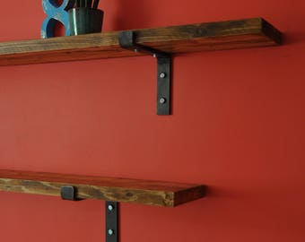 reclaimed shelves industrial shelving rustic wood custom made steel bracket reclaimed scaffold board shelves hand made
