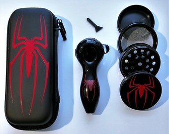 Spiderman Pipe Glass Kit Grinder Case Great For The Outdoors + Free Shipping