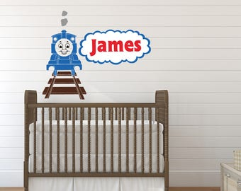 Thomas The Tank Engine Wall Decal   Boy Name Wall Decal   Train Wall Decal