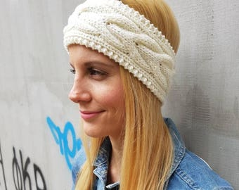 White cable wool headband, cute wool knit thick white ear warmer, warm cute ear headband, snow cable knit winter headband, crochet headband